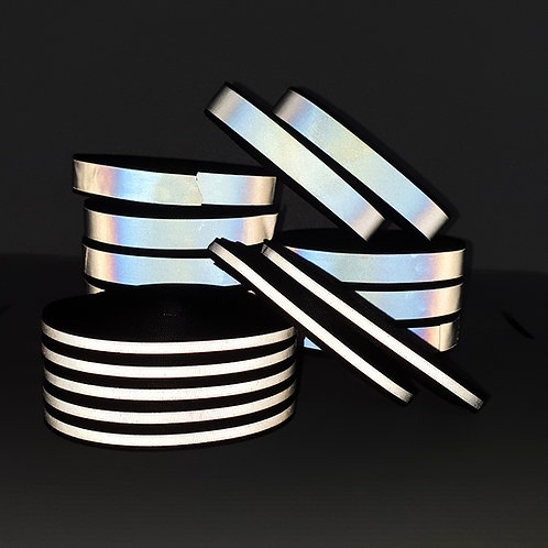 Silver Reflective Grosgrain tape