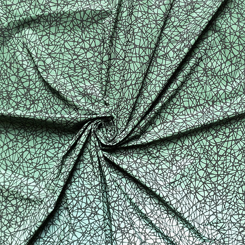 Web Print in Green Iridescent Reflective WOVEN Fabric