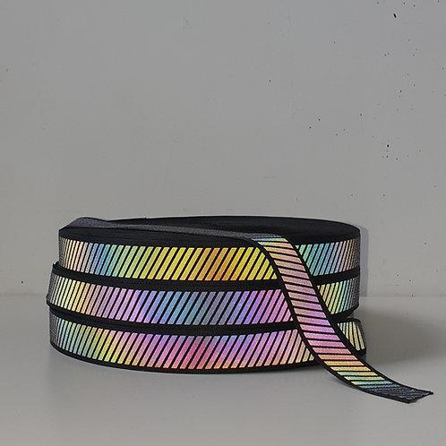 Diagonal Rainbow Reflective Grosgrain tape