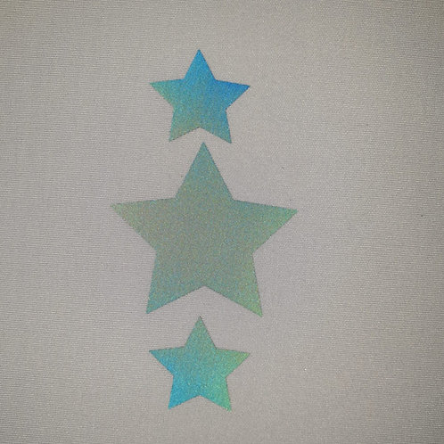 Rainbow Reflective Stars Heat transfer film sold by the metre