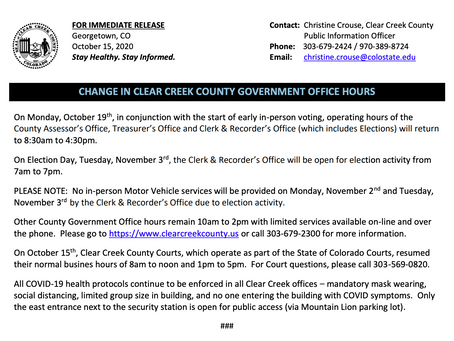 CHANGE IN CLEAR CREEK COUNTY GOVERNMENT OFFICE HOURS