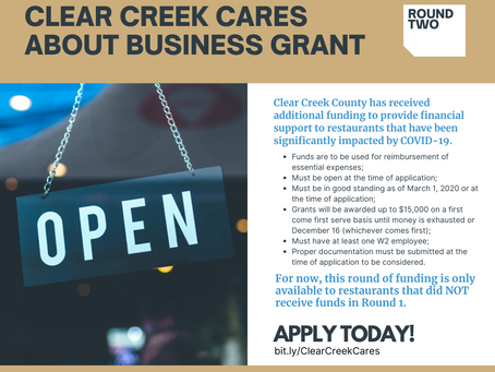 Clear Creek CARES About Business Grant: Round 2