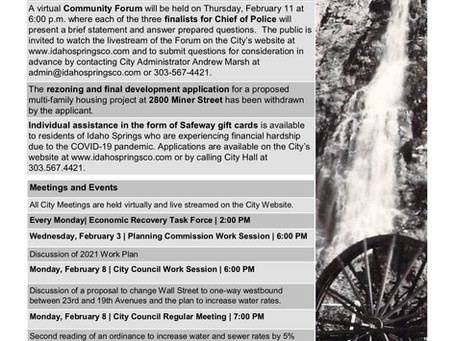 City of Idaho Springs Community Update, February 3, 2021