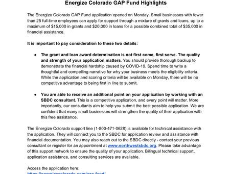 Energize Colorado GAP Fund Grant/Loan Program