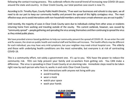 Clear Creek County Press Release: COVID-19 Outbreak in Georgetown