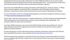 Press Release: State Moves Clear Creek County to Less Restrictive COVID-19 Dial Level