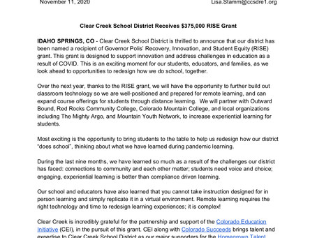 Clear Creek School District Receives $375,000 RISE Grant
