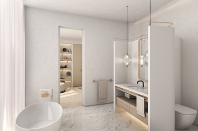 Residential house bathroom with freestanding tub