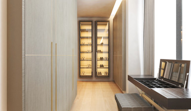 Residential house master wardrobe with dressing table