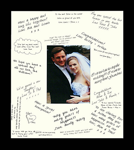 """18""""x16"""" Wedding Signature Frame Guestbook with a Black Frame"""