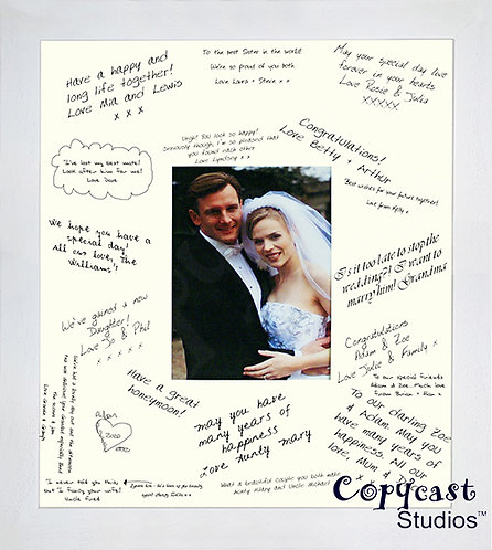 """18""""x16"""" Wedding Signature Frame Guestbook with an Ice White Frame"""