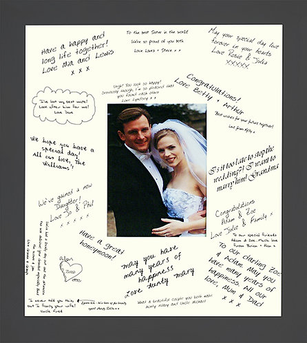 """18""""x16"""" Wedding Signature Frame Guestbook with a Grey Frame"""