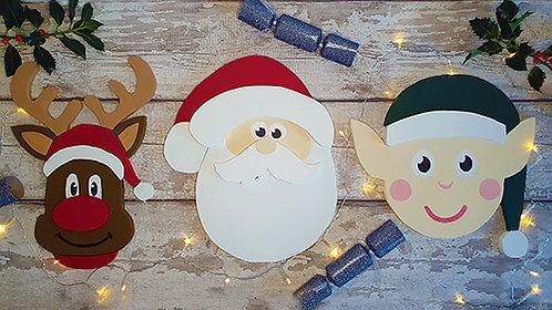 Set of 3 Large Christmas Signs - Painted and Personalised