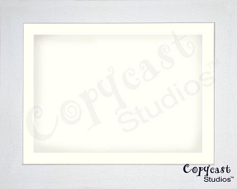 Ice White Shadow Box Frame with Antique White Mountboard - Rectangular Sizes