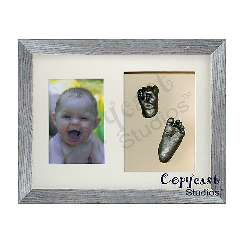 "Baby Casting Kit with 12""x9"" Slate Grey Box Frame and Cream Mount"