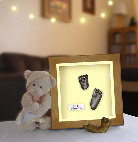 """Baby Hand and Foot Casting Kit with 8""""x8"""" Caramel Brown Square Frame"""