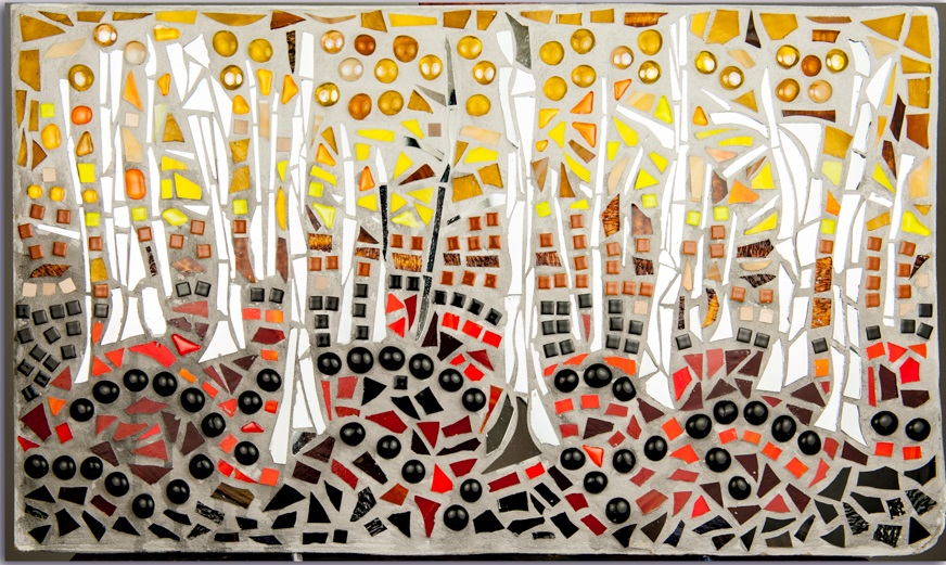Baran_Linda_White Birch in Autumn_glass, tile, mirror_16x26_nfs