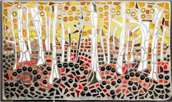 Baran_Linda_White Birch in Autumn_glass, tile, mirror_16x26_nfs