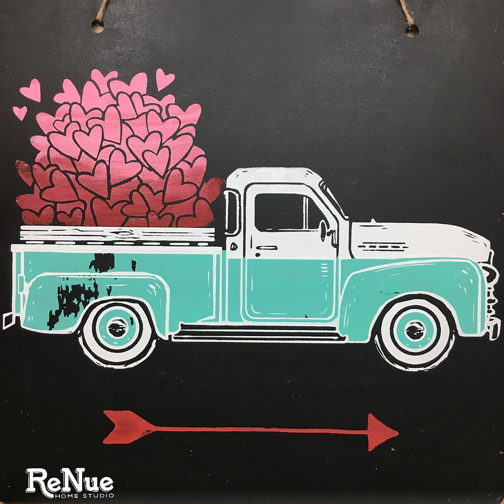 Valentine Chalkboard Decorations Vintage Truck with Hearts