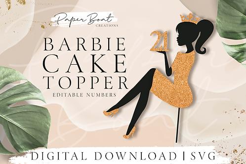 Sitting Girl Silhouette Cake Topper Woman Toper Custom Age Crown Princes