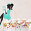 Thumbnail: Sitting Girl Silhouette Cake Topper Woman Toper Custom Age Crown Princes