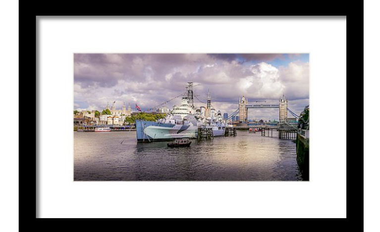 Hms Belfast And Tower Bridge Framed Print by Geoff Eccles Safari, Today at 1.46.19 PM.png