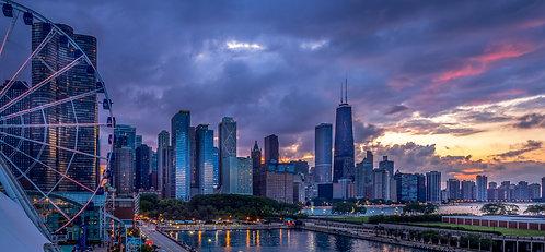 Sunset over Lake Michigan, Chicago