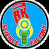 RK letra inicial incorporada no braço robótico . Restante do nome da empresa ao redor de um circulo
