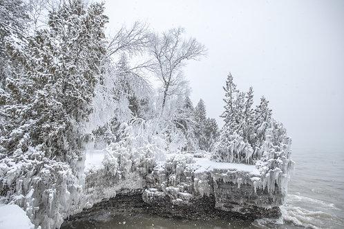 Cave Point Door County Winter