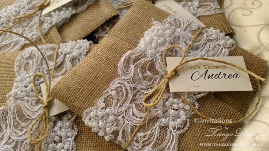 invitacion burlap and lace