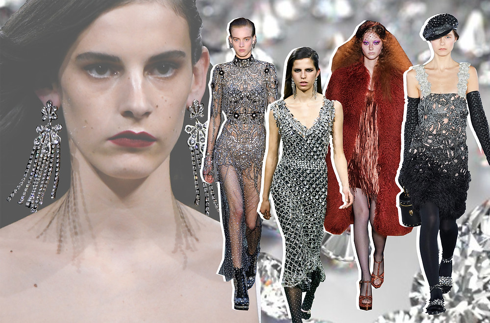 A collage of Paco Rabanne, Balmain, Michael Kors and Alexander McQueen