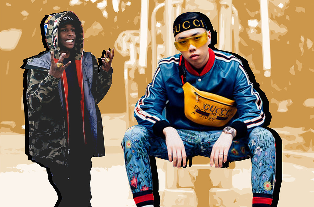 A$AP Rocky in Bathing Ape and BewhY in HYPEBEAST