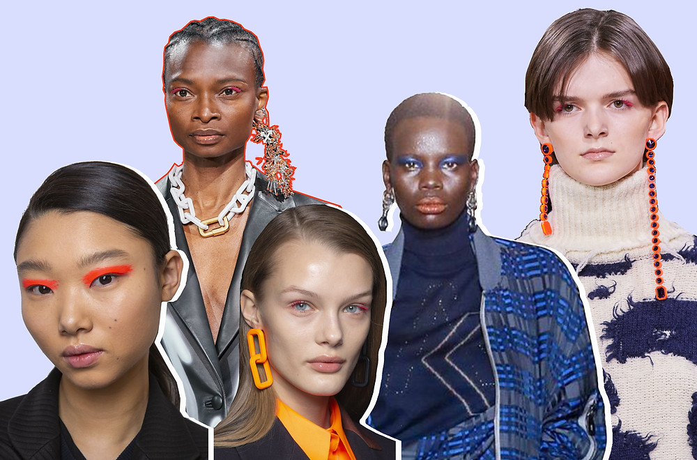 Beauty looks from the Self-Portrait, Vivienne Westwood, Ashish and Off-white AW20 shows