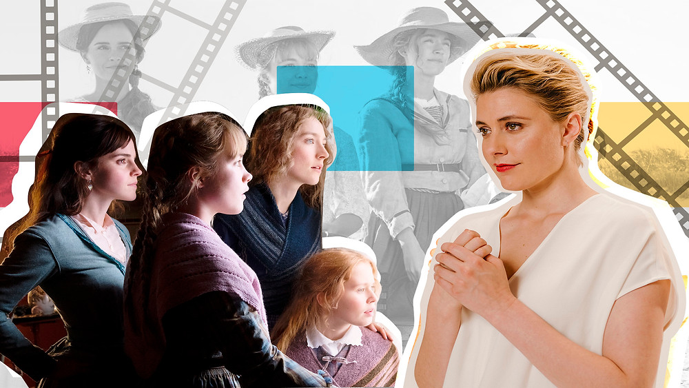 "Collage of Emma Watson, Saoirse Ronan, Eliza Scanlen and Florence Pugh in ""Little Women"" and Greta Gerwig"