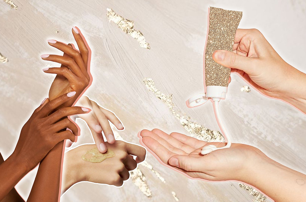 Collage of hands and hand creams