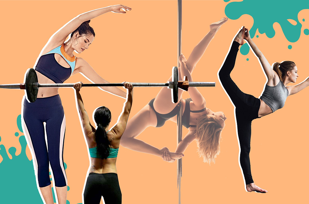 Collage of Barre fitness, Cross Fit, Pole fitness and Yoga poses