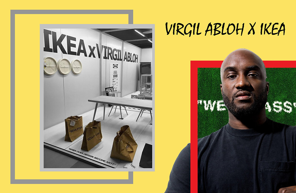 "Virgil Abloh and the IKEA x Virgil Abloh collaboration featuring the ""Wet Grass"" carpet, the ""Temporary"" wall clocks and the ""Sculpture"" tote bags"