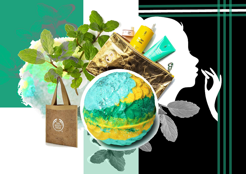 Lush bath bomb, BYBI products, The Body Shop products