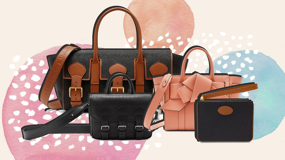 A collage of bags from the Mulberry x Acne Studios collection