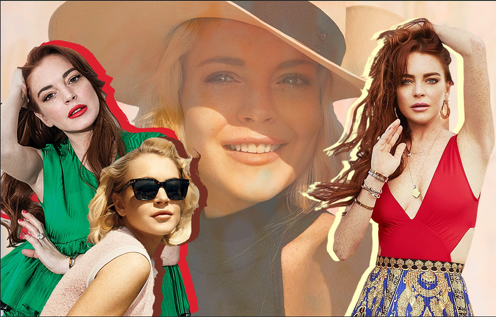 Collage of Lindsay Lohan from her Beach Club Show, Norman Jean Roy for Vanity Fair and by Jenna Greene for Variety