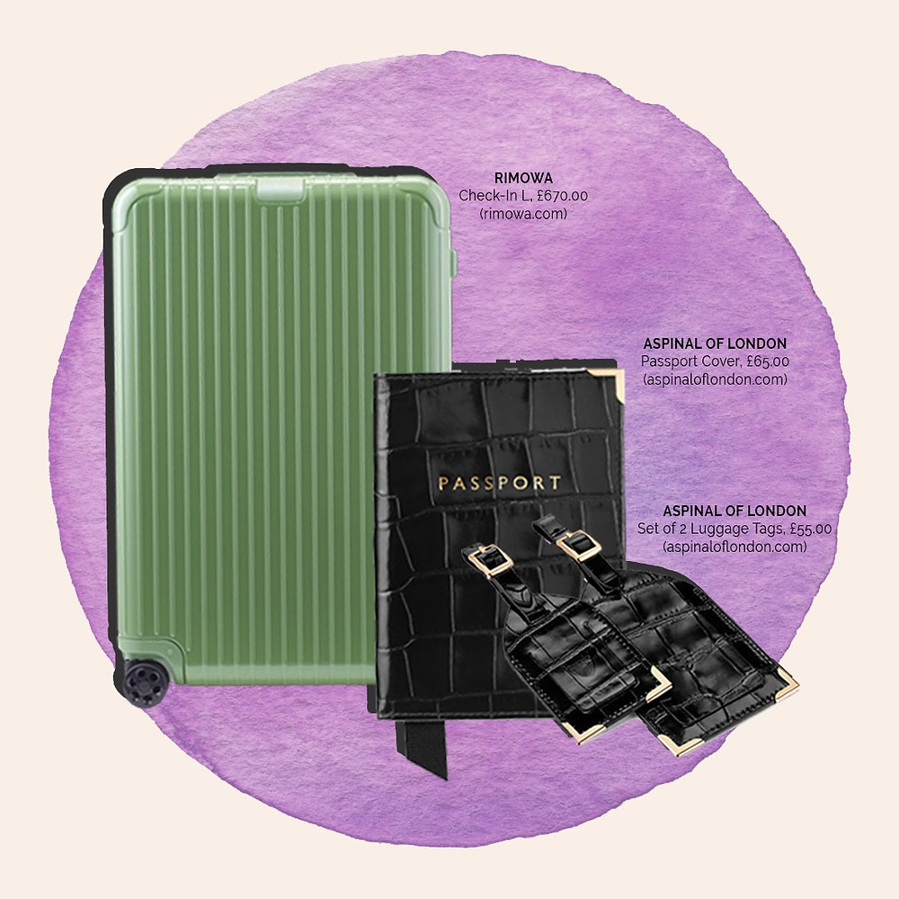 Rimowa Suitcase in Sage and a matching passport cover and luggage tags from Aspinal of London