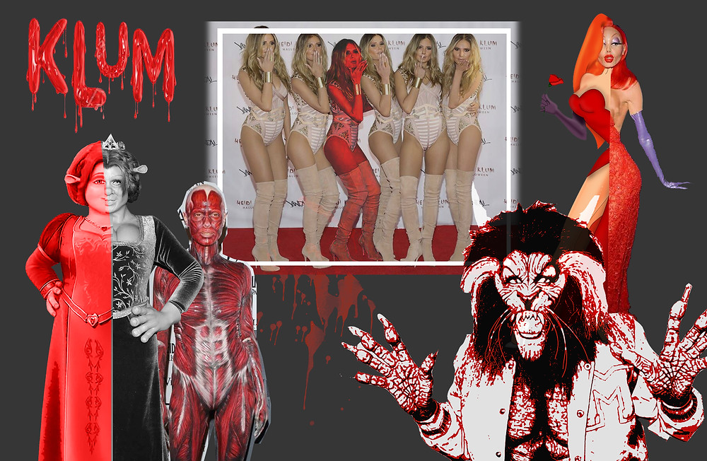 Heidi Klum's Halloween costumes of Michael Jackson in Thriller, Jessica Rabbit, Princess Fiona and Heidi Clones