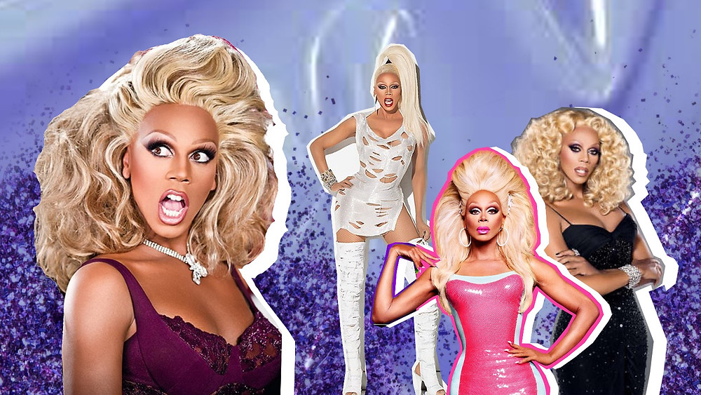 Collage of RuPaul, a Drag Queen and head judge of RuPaul's Drag Race