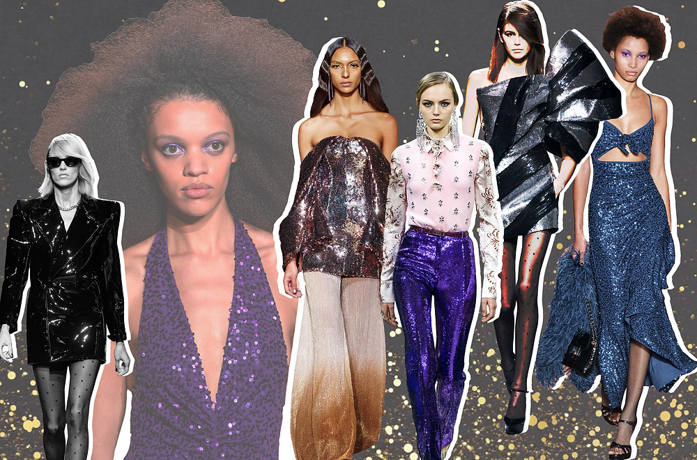 A collage of Michael Kors, Saint Laurent, Paco Rabanne and Halpern