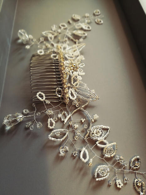 Beaded hair vine on a comb