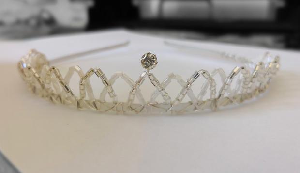 Silver & white beaded tiara