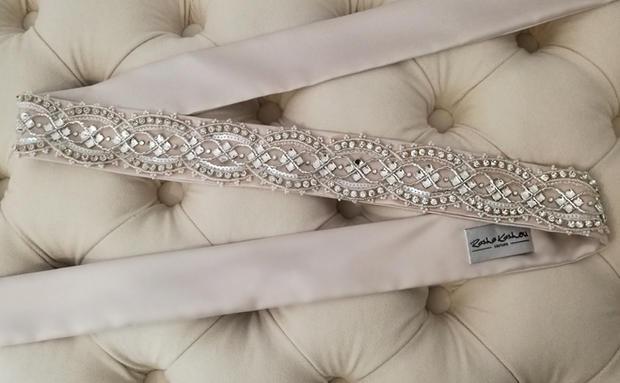 Hand beaded rhinestone sash