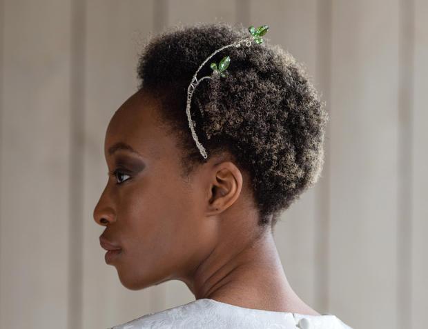 Green & silver rhinestone leaf hair slide