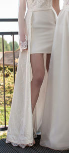 Belted lace over-skirt lined in satin