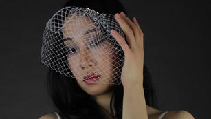 Double layered birdcage Veil with clear rhinrstones